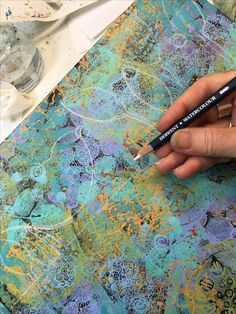 Acrylic painted stenciled backgrounds before adding white shapes on top. Acrylic Painting Techniques, Art Techniques, Zentangle, Gelli Arts, Mixed Media Collage, Claude Monet, Art Journal Inspiration, Pablo Picasso, Art Tutorials