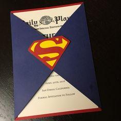 Save The Date Superman Wedding Invitation por AmiraDesign en Etsy