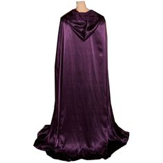 Hooded Cloak Eggplant Dark Purple Satin Renaissance Medieval Pageant... ($79) ❤ liked on Polyvore