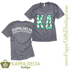 Kappa Delta Boutique does custom group orders!! Adorable Grey Vnecks with green chevron letters!
