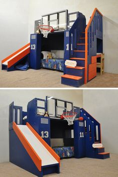 The Ultimate Basketball Bunk Bed truly is a show stopper! This incredible design can be a bunk bed, loft bed, or indoor playhouse. With a slide and NBA sized, shatter proof basketball hoop built in, the fun never has to stop! And with a desk and drawers built into the side, you can be sure your kids will have a space to work as well. Click to learn more about this incredible sports bed!
