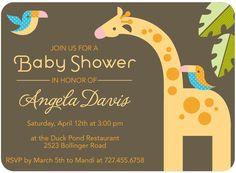 Zoo Pals - Baby Shower Invitations in Cream   Eleanor
