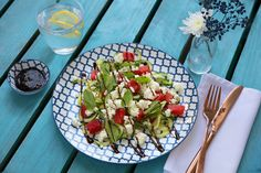 Feta cheese, cucumber noodle, watermelon and mint salad