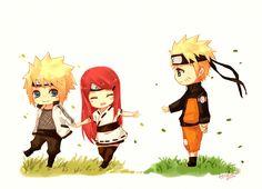 Minato, Kushina y Naruto Chibis.