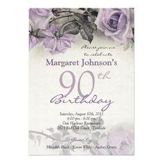 90th birthday party invitation hydrangeas 90th birthday invitation