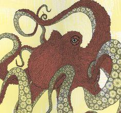 Pink Octopus Screenprint by HeckYeahPrints on Etsy Octopus Squid, Octopus Art, Octopus Drawing, Kraken, Octopus Pictures, Aliens, Squid Tattoo, Yellow Octopus, Street Art Utopia