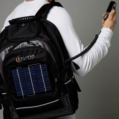 Solar-power backpack. This would be so useful to take camping. Tons of pockets for devices, and an extendable cord to plug into. Nice!