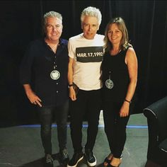 Great pic from our lovely #walkinmyshoes supporter Tommy McCarthy and lovely ambassador #AdamClayton ahead of @u2 concert in #Boston last night! Hope you enjoyed it guys ☺️