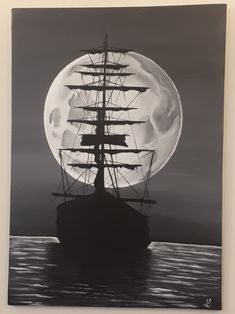 Black & white ship painting on canvas (acrylic) Ship Paintings, Sailing Ships, Celestial, Black And White, Canvas, Outdoor, Tela, Outdoors, Blanco Y Negro