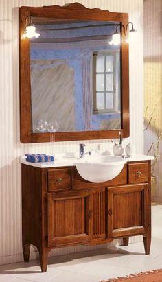 mobile bagno in legno compreso lavabo colore noce scuro arte povera art 734a shabby chic