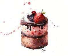Watercolor Cake - Original Watercolor Painting 7 4/5 x 7 4/5 inches
