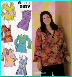 Contemporary Plus Size Sewing Patterns | Pullover V-neck Hippy Tunics Plus Size 18W-24W Uncut Simplicity 4968 ...