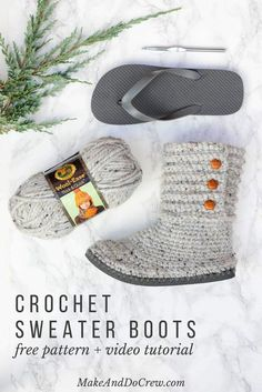 With this free pattern and crochet video tutorial you can make your own crochet boots! These crochet boots with flip flops for soles make great outdoor shoes or house slippers. Made with Lion Brand Wool Ease Thick and Quick in Grey Marble. Quick Crochet, Knit Or Crochet, Crochet Crafts, Crochet Projects, Free Crochet, Craft Projects, Crotchet, Crochet Sweaters, Diy Crafts