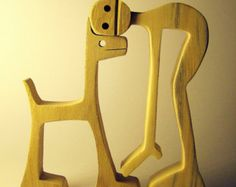 sculpture wood scalloped a man a dog by 2virgule5d on Etsy