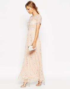 Image 4 of ASOS SALON Beaded Floral Mesh Maxi Dress