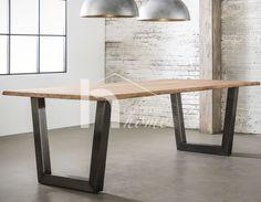 Table à manger industrielle en acacia et inox brossé MUNICH