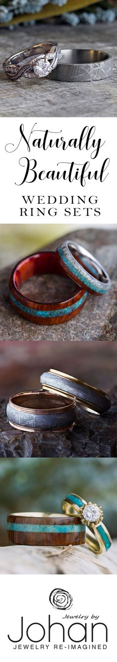 Choose from hundreds of unique wedding rings and engagement rings to create your perfect wedding ring set. Our nontraditional materials include meteorite, deer antler, fossilized dinosaur bone, and exotic woods!