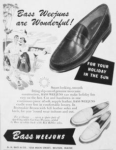 Publicité pour les mocassins Bass #mode #homme #chaussures #mocassins #vintage #annees50 #mens #fashion #shoes #smart #moccasin #weejuns #bass #leather #bootmaker #50s