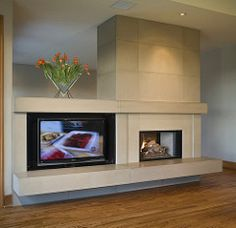 Fireplace with hidden tv: 18 x 36 tile, judd, custom hearth flame & tv. Fireplace Wall, Living Room With Fireplace, Fireplace Surrounds, Fireplace Design, Fireplace Mantels, Fireplace Ideas, Eco Friendly Flooring, Home Board, Flooring Options