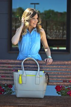 Summer Style and Fashion, Denim Dress and Kate Spade Bag
