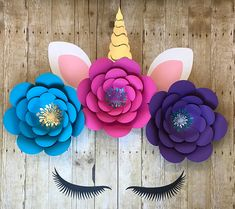New Post wall decoration with paper flowers visit Bobayule Trending Decors Paper Flower Arrangements, Paper Flowers Diy, Flower Decorations, Flower Diy, Diy Paper, Unicorn Birthday Decorations, Unicorn Birthday Parties, Unicorn Decor, Unicorn Lashes