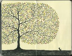 journal page #tree by Mattias Adolfsson, freelance illustrator