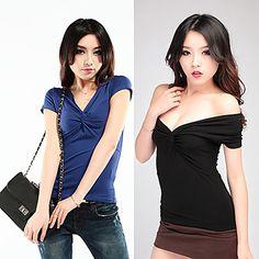 Women Deep V-neck Off-the-shoulder Collar Short Sleeve T-shirt