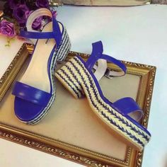 2016 Summer Miu Miu Nappa Leather Sandals Blue with bicolor braided jute platform