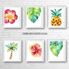 Brighten up your home with this set of 6 tropical themed wall art prints featuring colourful watercolour frangipanis/plumeria, monstera leaf, tropical leaf, a pineapple and palm tree. Instantly download these 8x10 files and print as many copies as you like when it suits you. You will receive a JPG Tropical Nursery, Tropical Girl, Tropical Bedrooms, Tropical Home Decor, Tropical Prints, Tropical Interior, Tropical Colors, Mural Wall Art, Wall Art Prints