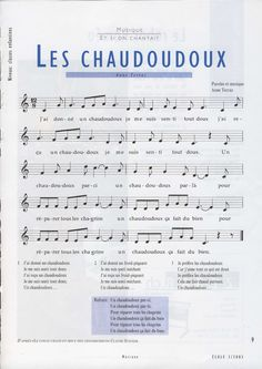 La chanson : Les chaudoudoux | BDRP How Did It Go, Emotion, Chant, Teaching Music, Back To School, Sheet Music, Communication, Positivity, Teacher