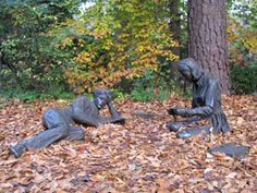 Sculpture of studying students near the Sunken Garden, College of William and Mary