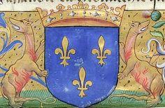Armes de François Ier, roi de France (f°6r) -- «La monarchie de France», par Claude de Seyssel, évêque de Marseille, XVIe s. [BNF, Ms Fr 5212 - ark:/12148/btv1b525026901]
