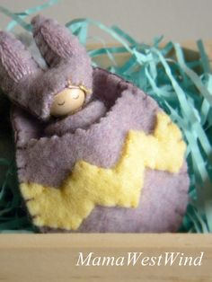 Easter Bunny, Waldorf Inspired, small peg doll, Bunny Gnome, Rabbit, Spring, lavender, yellow, Easter Basket Toy, gift for girl