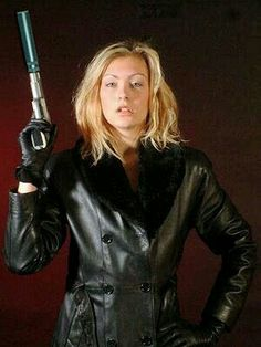 Woman Lady Female Leather Gloves Gloved Armed Gun
