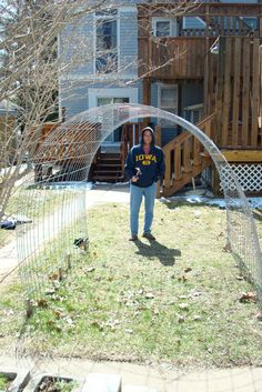 a simple trellis out of 15' X 4' steel grid fencing.  $35.  He used 1X2 stakes at the base and pushed the fencing prongs into the soil.  The arch is 6' high and 6' wide.