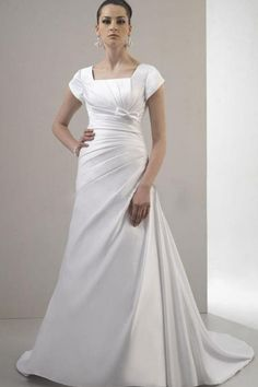 Ruching Bow Square Neck Satin White A-line Court Train Wedding Dress Sale Online - DRESSESMALL