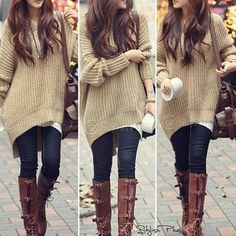 Apricot Plain Hooded Dolman Batwing Long Sleeve Irregular Thick Knit Sweater