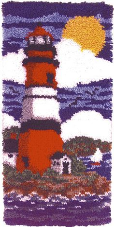 Wonderart+Latch+Hook+Kit+16+X32+-Lighthouse The Happy Hooker, Homemade Rugs, Rya Rug, Rugs And Mats, Latch Hook Rugs, Amazon Art, Rug Hooking, Sewing Stores, Creative Crafts