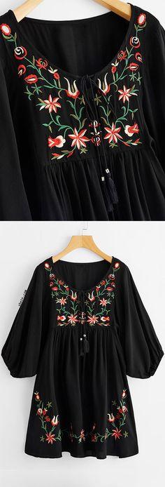 Tasseled Tie Neck Lantern Sleeve Embroidered Smock Dress