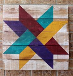 Image of Bright Twisted Star Barn Quilt