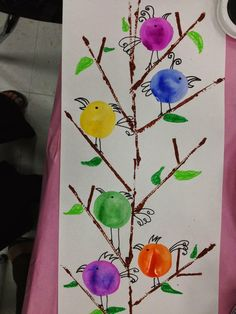 Mother's Day Art or Kinder Birds.Printmake w/cut cardboard for the branches, trace baby bottle lids for the birds & tempera cake them. Add detail with sharpie markers & oil pastels for leaves & grass. Spring Art Projects, School Art Projects, Spring Crafts, Kindergarten Art Lessons, Art Lessons Elementary, First Grade Art, Fingerprint Art, Preschool Art, Art Classroom