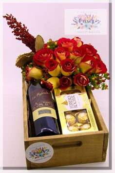 Valentines Day Wine, Valentine Desserts, Valentine Gifts, How To Wrap Flowers, Candy Gifts, Hampers, Gifts For Father, Gift Baskets, Chocolates