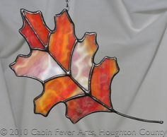 FALLING OAK LEAF in Stained Glass, Northern Red Oak, Autumn Fall Thanksgiving Decor. $40.00, via Etsy.