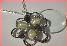 Magnifying Glass Rhinestone And Pearl Floral Charm Necklace | jenstarr - Jewelry on ArtFire