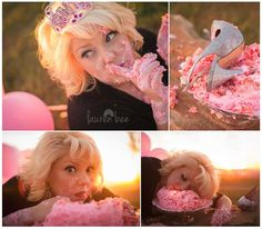 Adult smash cake by Susie's Cupcakes and Lauren Bee photography. Featuring Anna Marie Pratt as model.