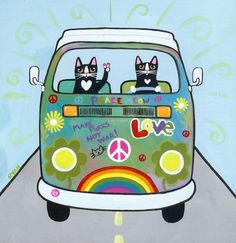 Rainbow Hippies VW Peace Bus Original Cat Folk Art