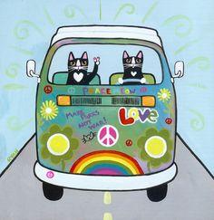 Rainbow Hippies VW Peace Bus Original Cat Folk Art