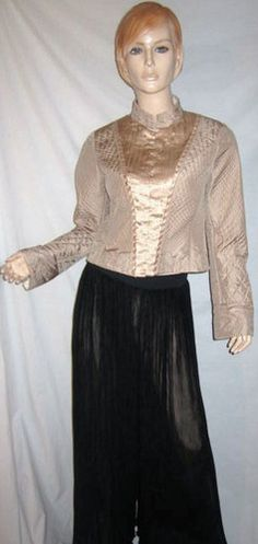 ELIE TAHARI 100% Silk Quilted Metallic Embroidered Pintuck Dress Jacket Top M...see more details at this link - http://stores.shop.ebay.com/vintagefluxed