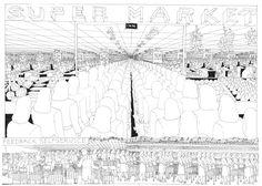 The Machine is Calling by Chris Ware Chris Ware, Gerhard Richter, Dream Book, Future City, Abstract Landscape, Comic Strips, Illustration Art, Cartoon, Comics