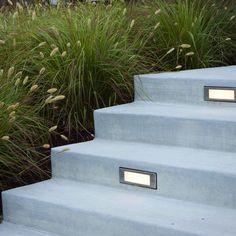 Modern Landscape Front Yard Design with lighting (Patio Step Lighting) Modern Landscape Lighting, Modern Landscape Design, Green Landscape, Modern Landscaping, Landscape Stairs, Landscape Materials, Landscaping Ideas, Front Yard Walkway, Front Yard Landscaping